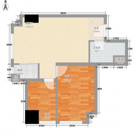 熙城都会2室1厅1卫1厨72.00㎡户型图