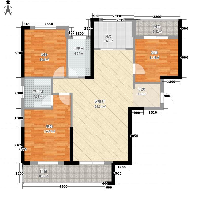 民邦・槐荫东岸125.13㎡E1户型3室2厅2卫1厨