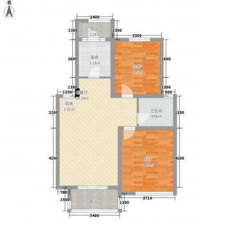 景泰园2室1厅1卫1厨102.00㎡户型图