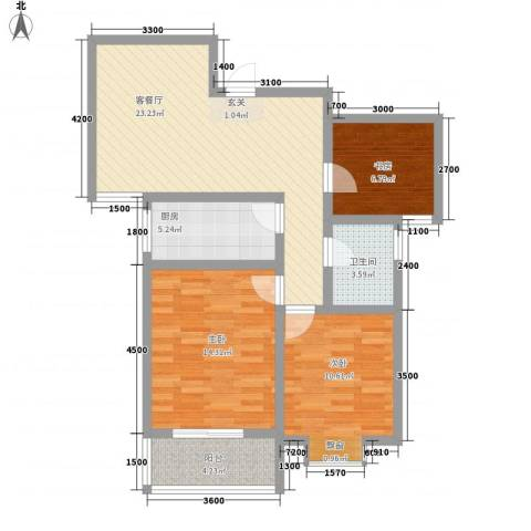 熙城都会3室1厅1卫1厨68.01㎡户型图
