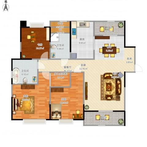 中海寰宇天下3室1厅2卫1厨162.00㎡户型图