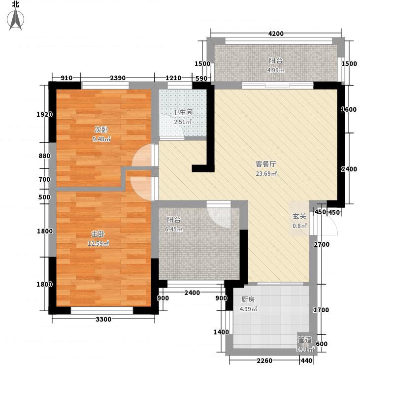 滨江海棠湾3.11㎡20栋21栋D1户型3室2厅1卫1厨