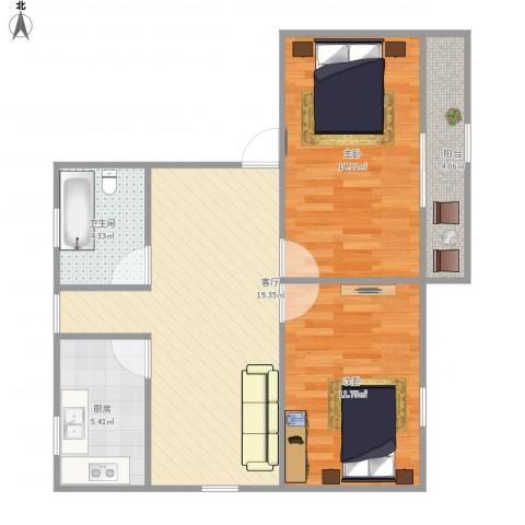 湄长新村2室1厅1卫1厨80.00㎡户型图