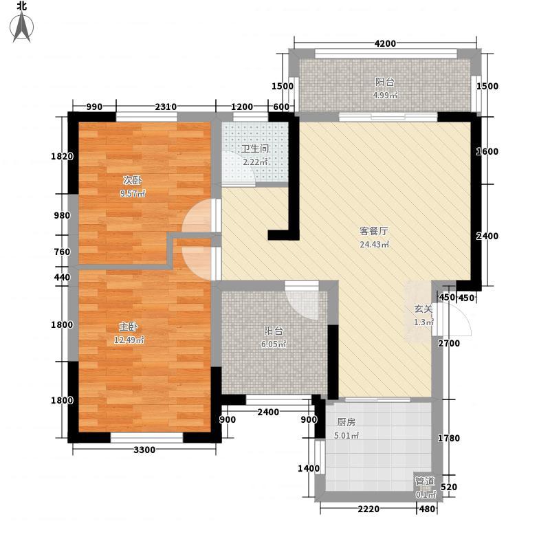 滨江海棠湾1.60㎡22栋C1户型3室2厅1卫1厨