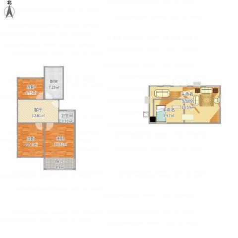 鼓楼新村3室1厅1卫1厨119.00㎡户型图