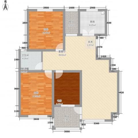景泰园3室1厅1卫1厨136.00㎡户型图