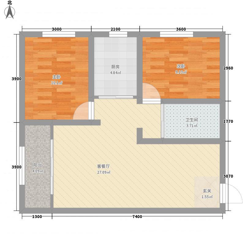 裕邦・城北名都B1户型2室1厅1卫1厨