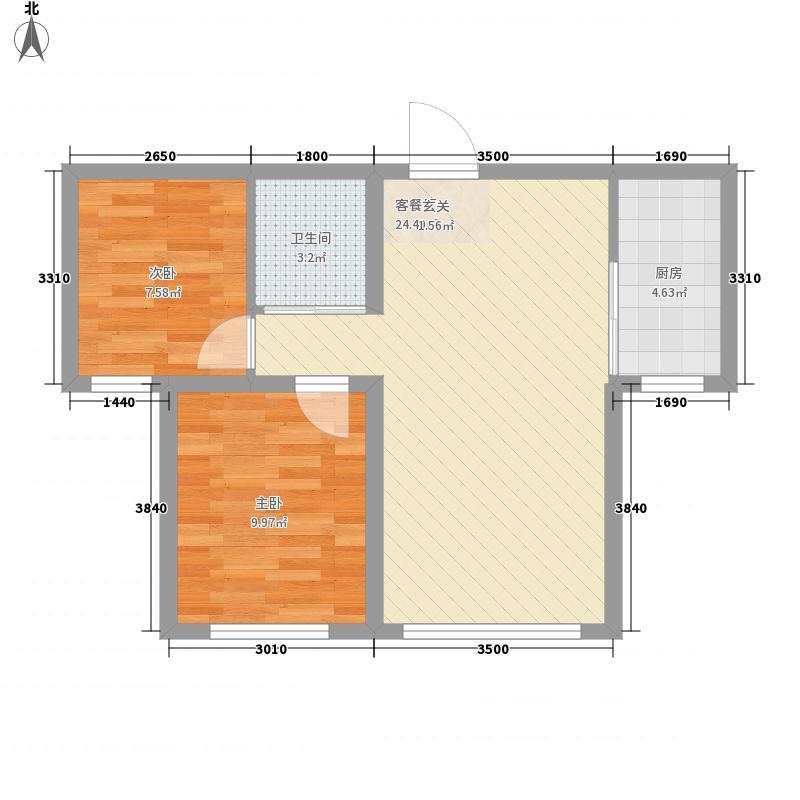 乾城7272.20㎡小高层C户型2室1厅1卫1厨