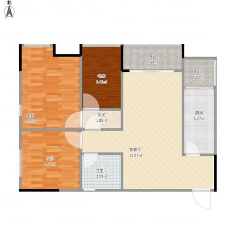 华欧理想城3室1厅1卫1厨93.00㎡户型图