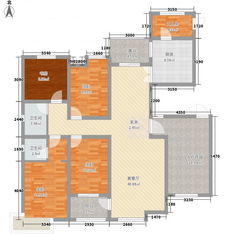 锦江・城市花园三期185.20㎡三期B户型5室2厅2卫1厨