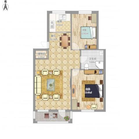 襄平蓝庭2室1厅1卫1厨113.00㎡户型图