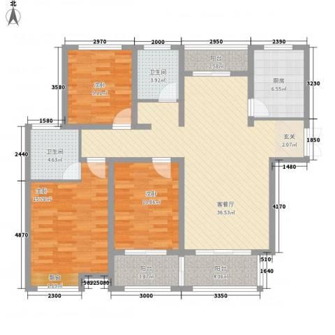 宜居・燕苑3室1厅2卫1厨142.00㎡户型图
