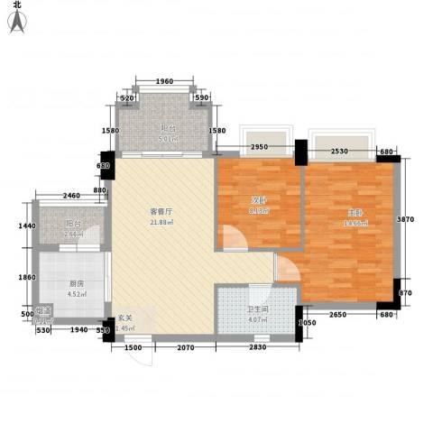 花语心岸2室1厅1卫1厨78.00㎡户型图