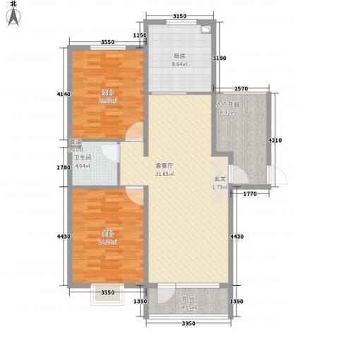 亿隆国际广场2室1厅1卫1厨118.00㎡户型图