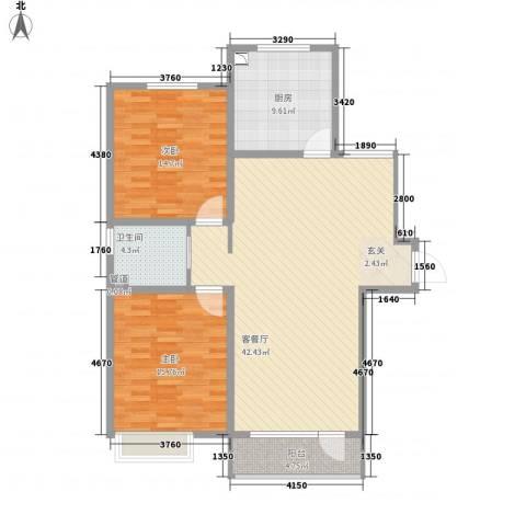 亿隆国际广场2室1厅1卫1厨128.00㎡户型图