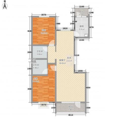 亿隆国际广场2室1厅2卫1厨122.00㎡户型图