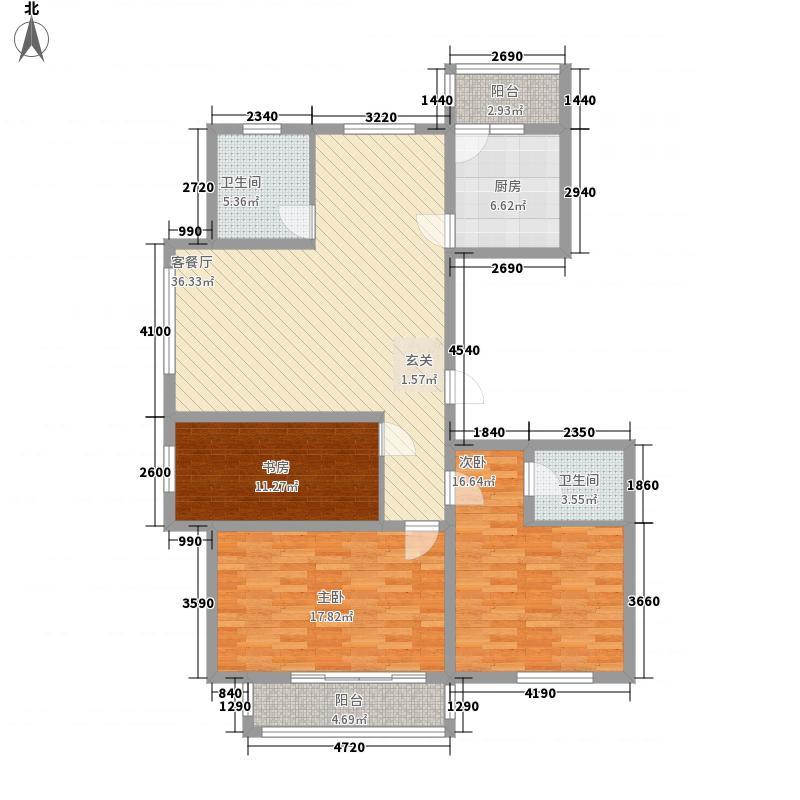 东湖豪庭14.32㎡A户型3室2厅2卫1厨