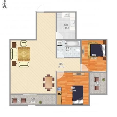 枫华紫园2室1厅1卫1厨111.00㎡户型图