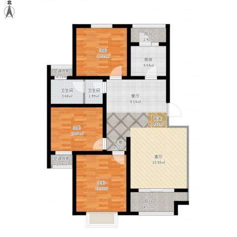 开源古楚名苑3室1厅2卫1厨125.00㎡户型图