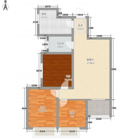浐灞1号3室1厅1卫1厨104.00㎡户型图