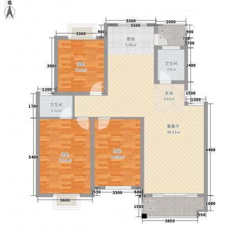 东花园一村3室1厅2卫0厨120.54㎡户型图