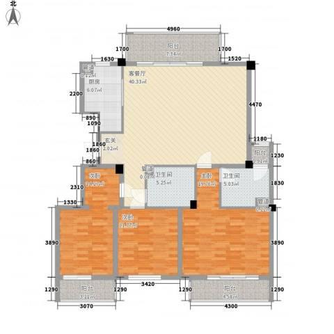 三泰丽园3室1厅2卫1厨168.00㎡户型图
