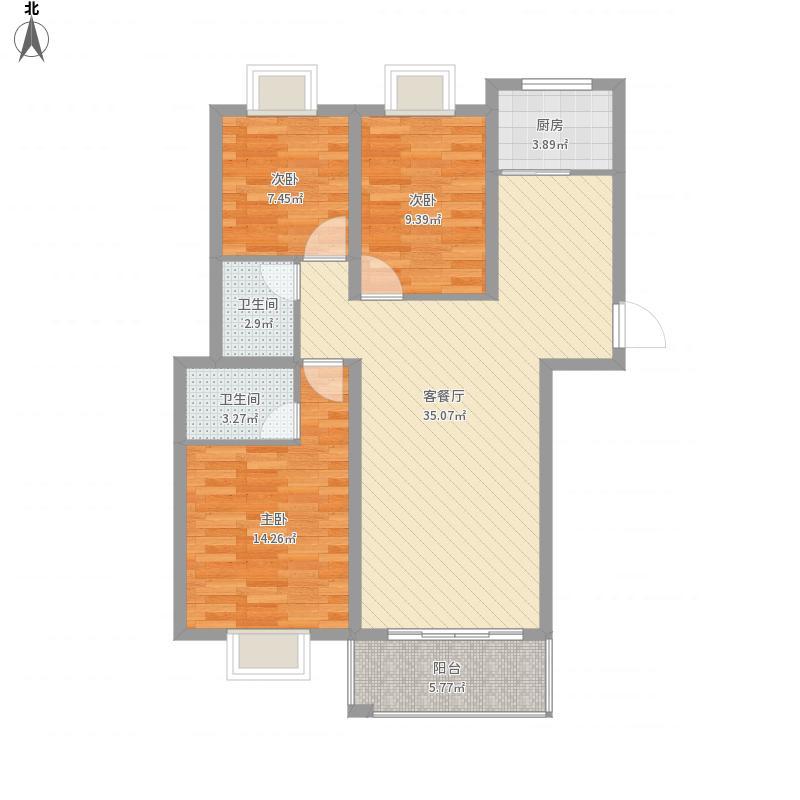 鼎翔珍珠湖H1户型三室二厅