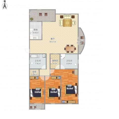万家花园欣和苑3室1厅2卫1厨187.00㎡户型图