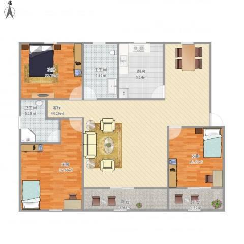 新华苑3室1厅2卫1厨159.00㎡户型图