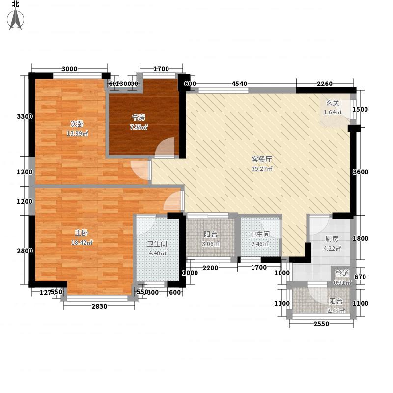 万象凯旋湾11.00㎡2栋03、07号房户型3室2厅2卫1厨