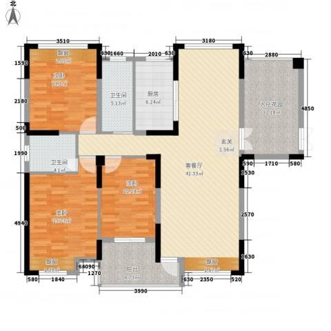 暨阳上河园二期3室1厅2卫1厨162.00㎡户型图