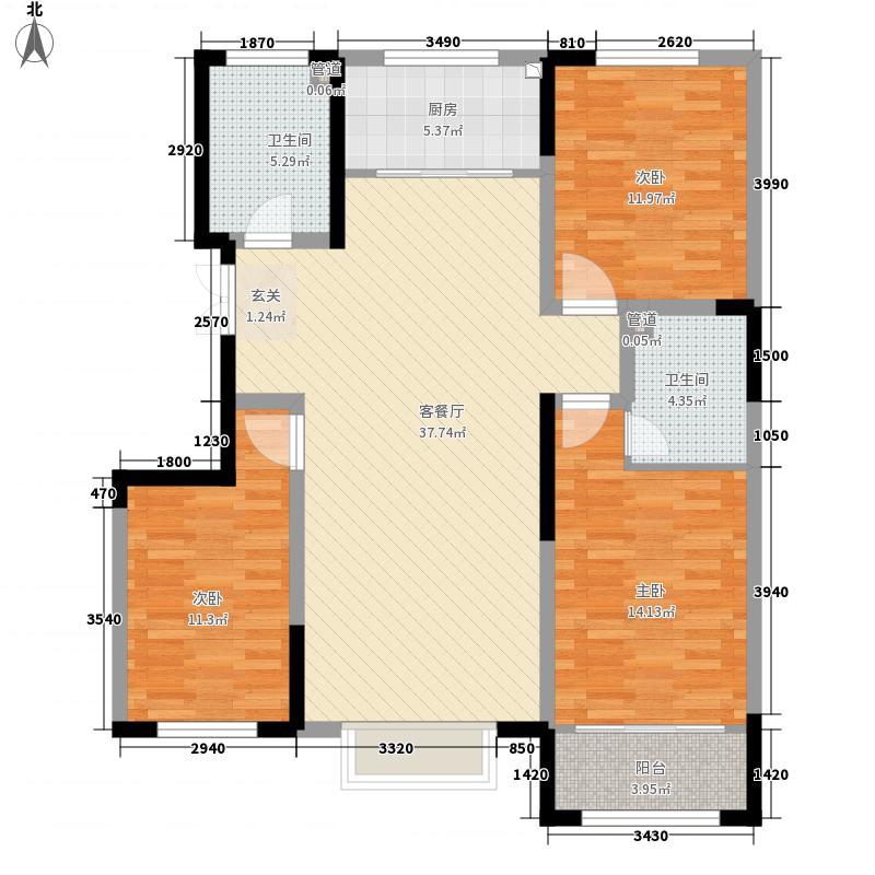 滨河园二期・时代城12.00㎡B2户型3室2厅2卫1厨