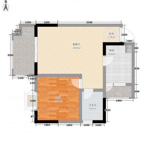 华恩・凯丽滨江1室1厅1卫1厨69.00㎡户型图