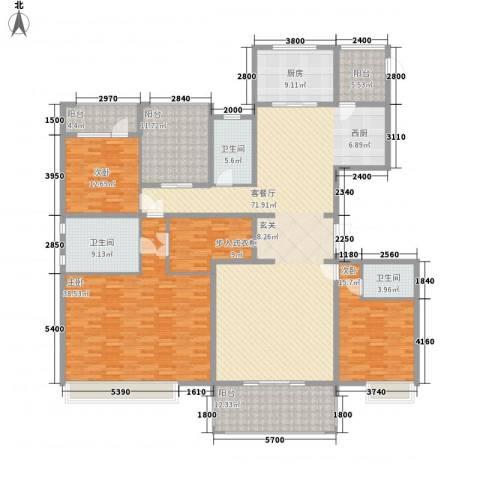 中海紫御公馆住宅3室1厅3卫1厨251.00㎡户型图