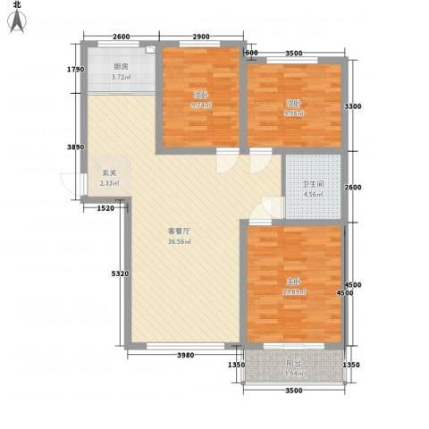 凤凰城3室1厅1卫1厨93.55㎡户型图