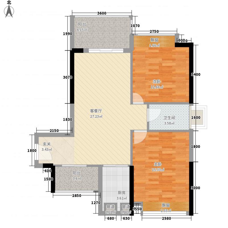 兆兴碧瑞花园87.00㎡3/4座05户型2厅1卫