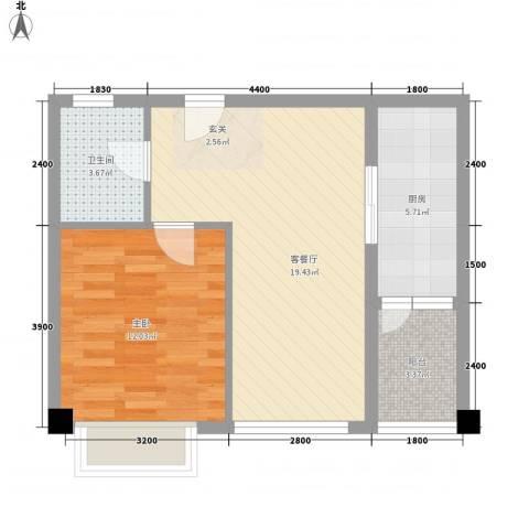 上谷居1室1厅1卫1厨44.20㎡户型图