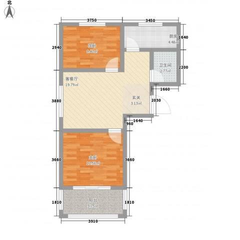 金牛小区南区2室1厅1卫1厨80.00㎡户型图
