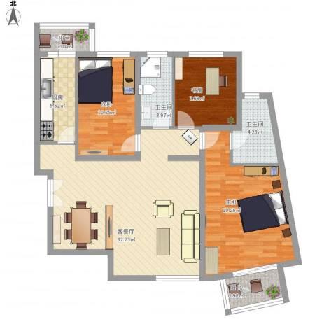 建邦华庭3室1厅2卫1厨123.00㎡户型图