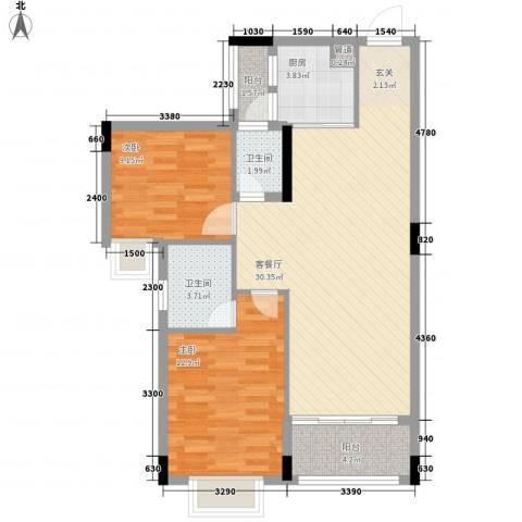 富景花园2室1厅2卫1厨67.94㎡户型图