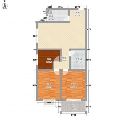 美鹏・梦圆3室1厅1卫1厨124.00㎡户型图