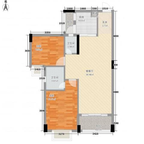 富景花园2室1厅2卫1厨67.70㎡户型图