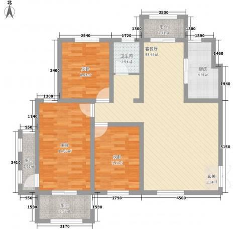 建业壹号城邦3室1厅1卫1厨1121.00㎡户型图