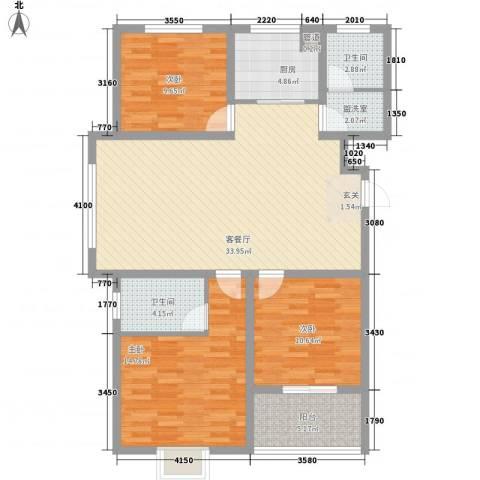美鹏・梦圆3室2厅2卫1厨126.00㎡户型图