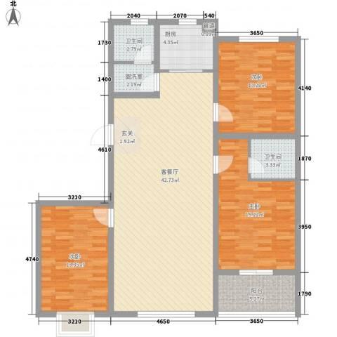 美鹏・梦圆3室2厅2卫1厨102.60㎡户型图