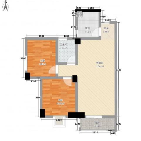 中环国际广场2室1厅1卫1厨88.00㎡户型图