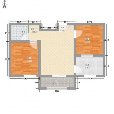 翡翠江南2室1厅1卫1厨65.00㎡户型图