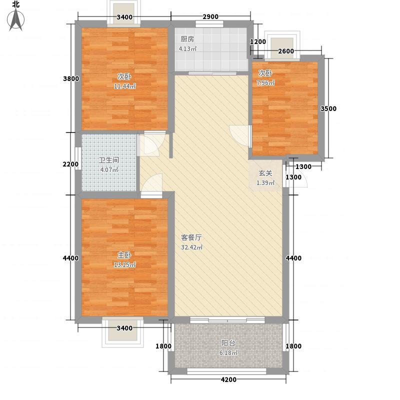 滨江怡景5.00㎡A1户型3室2厅1卫1厨