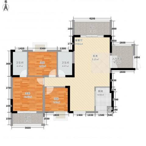 梓山湖领御3室1厅2卫1厨123.00㎡户型图