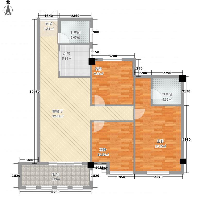 炜裕・时代广场111.88㎡阳光户型3室2厅2卫1厨